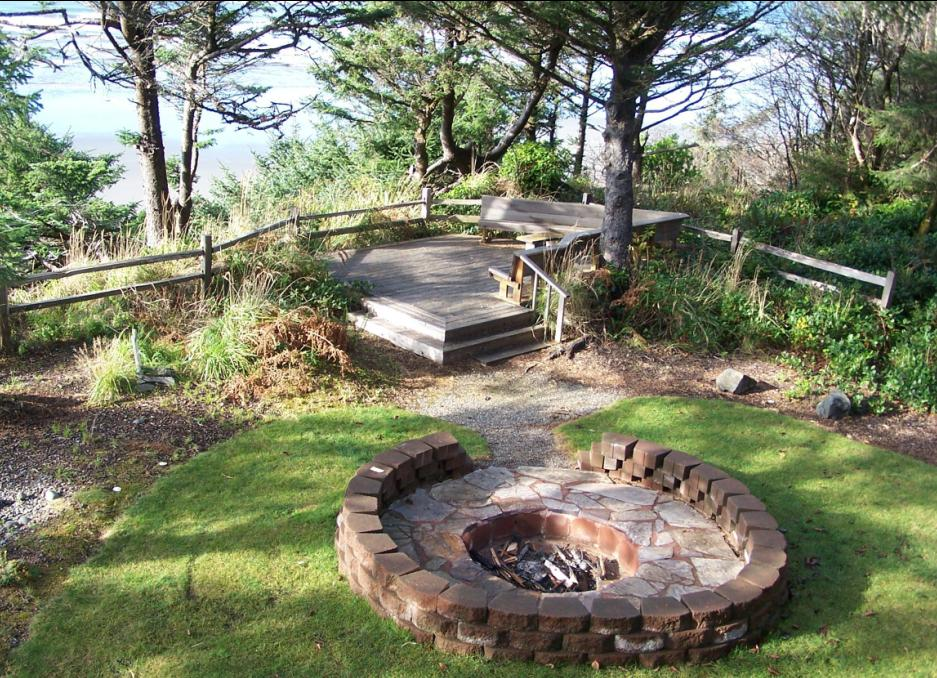 Fire Pit In Backyard Of Moclips Vacation Rental